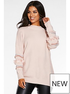 quiz-knitted-aztec-diamante-tassel-high-neck-jumper-pink