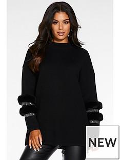 quiz-knitted-diamonte-faux-fur-trim-detail-high-neck-jumper-black
