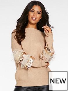 quiz-quiz-knitted-diamonte-fur-trim-detail-hi-neck-jumper