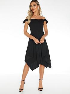 quiz-bardot-bow-shoulder-hanky-hem-dress-black