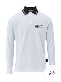 versace-jeans-couture-menrsquosnbsplong-sleeve-tipped-polo-shirt-ndash-white