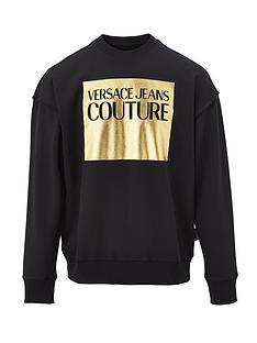 versace-jeans-couture-menrsquosnbsplarge-gold-foil-logo-sweatshirt-ndash-black