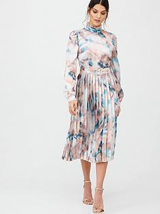 little-mistress-printed-satin-midi-with-belt-mutli