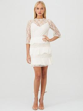 little-mistress-lace-pleated-tiered-dress-cream