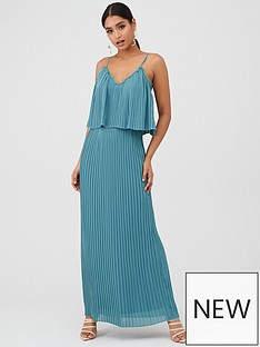 little-mistress-nbsppleated-maxi-dress-with-lace-trims-blue