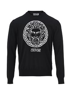 versace-jeans-couture-menrsquosnbsplarge-logo-knitted-jumper-ndash-black