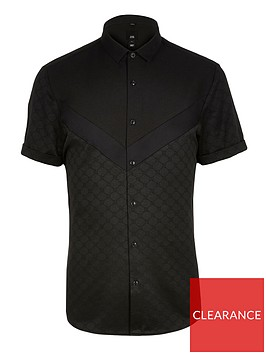 river-island-big-and-tall-black-chevron-ri-regular-shirt