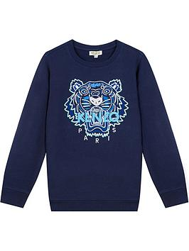 kenzo boys tiger crew neck sweatshirt - navy