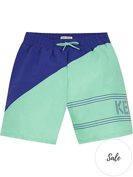 kenzo-boys-colour-block-swim-shortsnbsp--greenblue