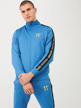 11 degrees asymmetric logo tracksuit top - blue