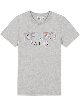 kenzo boys logo short sleeve t-shirt - grey