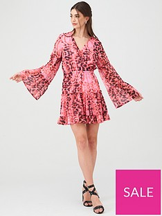 u-collection-forever-unique-animal-print-wrap-mini-dress-pink