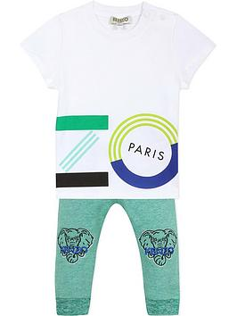 kenzo baby boys logo jog set - white/green