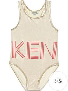 kenzo-girls-metallic-logo-swimsuit-gold