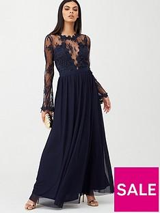 u-collection-forever-unique-lace-top-satin-belt-maxi-dress-navy