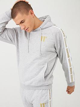11 degrees taped pull over hoodie - grey marl