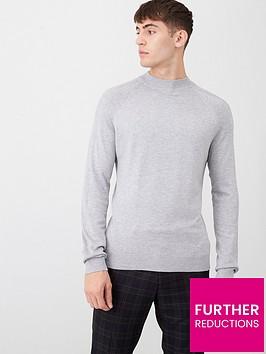 river-island-grey-slim-fit-turtle-neck-knitted-jumper
