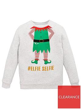 v-by-very-unisex-elfie-selfie-christmas-sweatshirt-grey