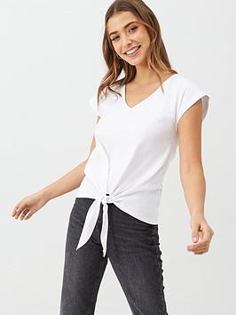 v-by-very-tie-front-top-white