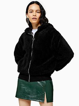 topshop-borg-zip-hoodie-black