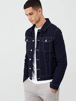 river-island-navy-contrast-stitch-classic-fit-jacket