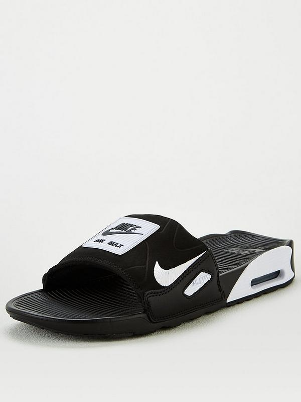 Ausencia Zapatos antideslizantes Poesía  Nike Air Max 90 Slides - Black/White | very.co.uk