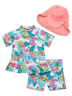 v-by-very-girls-frill-detail-3-piece-tropical-print-sunsafe-with-hat-multi