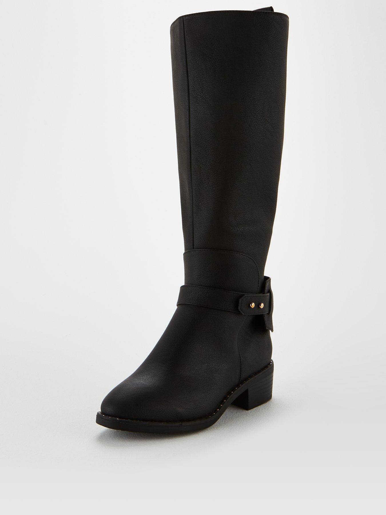 Womens Buckle Strap Round Toe Waterproof Non Slip Chunky Low Heel Zip Up Knee High Boots Zipper