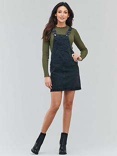 michelle-keegan-denim-pinafore-dress-black