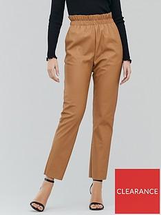 michelle-keegan-elasticated-waist-pu-trouser-tan