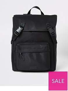 river-island-black-double-buckle-backpack