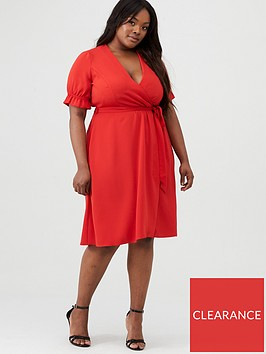 v-by-very-curve-crepe-cuff-sleeve-tea-dress-red