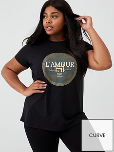 v-by-very-curve-lamour-foil-slogan-t-shirt-black
