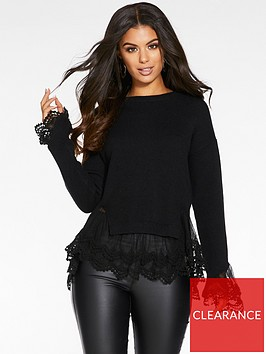 quiz-knitted-long-sleeve-lace-hem-and-cuff-jumper-black
