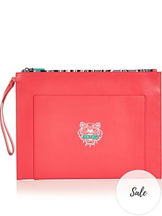 kenzo-leather-tiger-pouch-pink