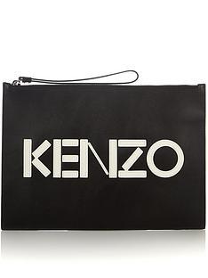 kenzo-logo-leather-pouch-black