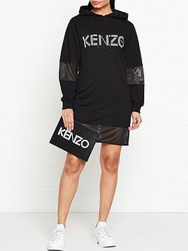 kenzo-logo-sport-hoodie-dress-black