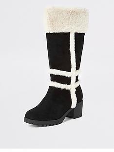 river-island-girls-faux-fur-knee-high-boots-black