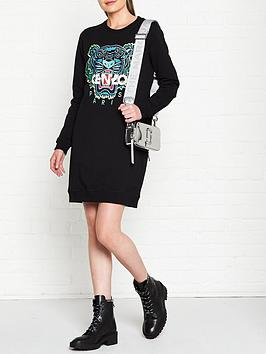 kenzo classic tiger sweatshirt dress - black