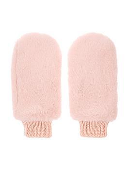 accessorize-girls-faux-fur-mittens-pink