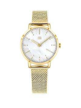 tommy-hilfiger-tommy-hilfiger-mother-of-pearl-dial-gold-stainless-steel-mesh-strap-ladies-watch