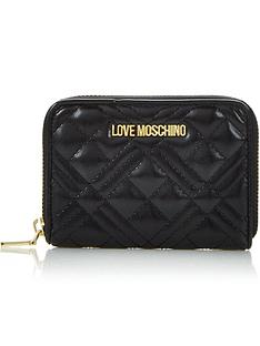 love-moschino-quilted-small-zip-around-purse-black
