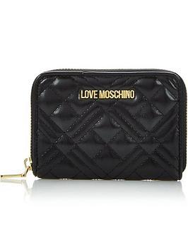 love-moschino-quilted-small-zip-around-purse-black