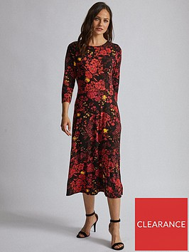 dorothy-perkins-dorothy-perkins-34-sleeve-floral-midi-dress-red