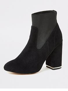 river-island-river-island-faux-suede-elasticated-block-heel-ankle-boot-black
