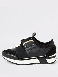 river-island-elasticated-trainer-black