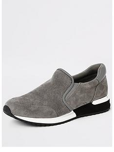 river-island-perforated-trainers-grey