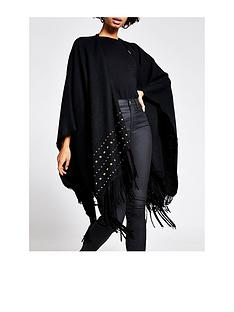 river-island-stud-fringe-cape-black