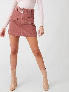 river-island-river-island-corduroy-belted-mini-skirt-pink