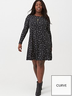 v-by-very-curve-elasticated-cuff-rib-swing-dress-floral-print